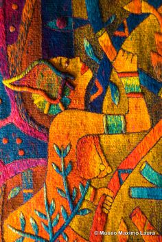 "Tapestry Detail: ""Lovers Seasons"", 69 x 186 in. Hand woven Tapestry by Maximo Laura /// Detalle de Tapiz: ""Estaciones del Amante"" 175 x 473 cm. Colección del Museo Máximo Laura /// More information at info@museomaximolaura.com or www.museomaximolaura.com"