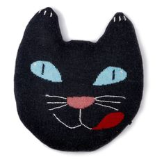 Oeuf Black Cat Shaped Cushion in Alpaca Wool