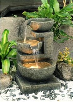 Nature Whispering of Outdoor Garden Water Fountains: Aquatics Medium Granite Three Bowl Water Garden Fountain Water Feature