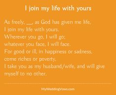 As freely, ________, as God has given me life, I join my life with yours… Husband Quotes From Wife, Wife Quotes, Strong Quotes, Husband Wife, Attitude Quotes, Quotes Quotes, Qoutes, Wedding Vows Examples, Wedding Poems