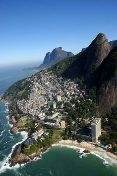 "Rio de Janeiro 7 (Vidigal Beach - beyond the beach is visible half of first ""brother"" and a big part of the second from ""Two Brothers"" Mount) - Brazil"