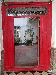 """ red gate, somewhere Andalucia, by Aili A Decor, Furniture, Home Decor, Doors, Mirror"