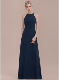 A-Line/Princess Scoop Neck Floor-Length Ruffle Zipper Up Regular Straps Sleeveless No Dark Navy Spring Summer Fall Winter General Plus Chiffon US 2 / UK 6 / EU 32 Bridesmaid Dress Tulle Bridesmaid Dress, Grad Dresses, Trendy Dresses, Wedding Party Dresses, Cute Dresses, Beautiful Dresses, Fashion Dresses, Formal Dresses, Midnight Blue Bridesmaid Dresses