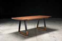Solid walnut top with breadboard design. Modern and organic table with blackened steel and solid walnut legs Custom Made Furniture, Furniture Making, Wood Furniture, Modern Furniture, Walnut Dining Table, Slab Table, Dining Room Table, Pipe Table, Industrial Dining