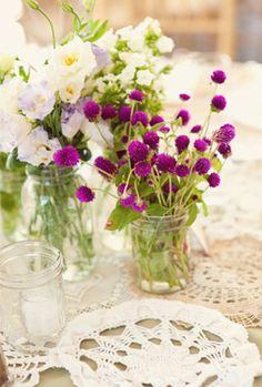 Purple & White Centerpiece