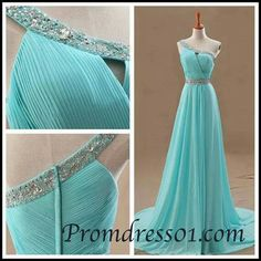 2015 elegant one shoulder beaded modest floor-length green chiffon + slim prom dress for teens,ball gown with sequins, homecoming dress #promdress   $178.99