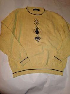 Mens Vintage Pinnacle Yellow Golf Crewneck Long Sleeve Sweater Size Large EUC  $21.99 #vintage #golf