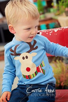 Rudolph the Red Nosed Reindeer Kids Shirt Christmas Shirts For Kids, Christmas Sewing, Christmas Baby, Ugly Christmas Sweater, Xmas, Baby Blue Shirt, Rudolph The Red, Red Nosed Reindeer, Inspiration Mode