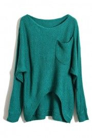 Green Main Anomalous Hem Jumper    $43.99
