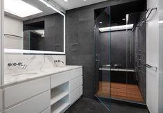 lowered roof above bath MIDTOWN LOFT modern-bathroom