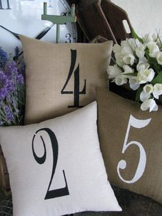Large Single Number pillows for your house number on Etsy. For the porch swing! #AspenHeights #decor