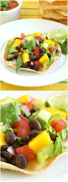 Black Bean and Mango Tostadas Recipe on twopeasandtheirpod.com One of our favorite easy recipes! Fresh and healthy too!