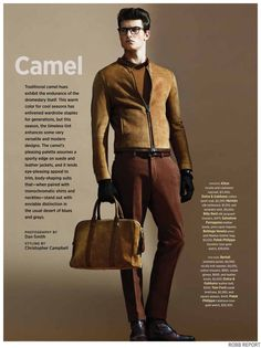 Lambskin jacket, vicuna knit sweater, trousers, suede gloves and boots from Berluti, belt from Dolce & Gabbana, suede briefcase and eyewear from Tom Ford, watch from Patek Philippe