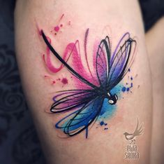 There are lots of tattoos ideas here. And out of this many people like to have watercolor tattoos. Our earlier Tattoos ideas of watercolor, . Watercolor Dragonfly Tattoo, Dragonfly Tattoo Design, Tattoo Designs, Watercolor Tattoos, Dragonfly Tatoos, Cute Small Tattoos, Pretty Tattoos, Cool Tattoos, Purple Tattoos