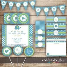 Elephant Baby Shower / Chevron & Polka Dots / Blue and by OandD, $35.00