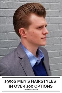 A cool long ginger Pomp can always make your appearance extremely well-groomed and clean looking in a formal suit. Check out this list and find some of the best 1950s men's hairstyles that you may want to recreate. #pomp #men1950shairstyle #menformalhairstyle #menhairstyle #manhaircuts Skin Fade Hairstyle, Pompadour Hairstyle, Hairstyle Look, 1950s Mens Hairstyles, Slick Back Haircut, Mullet Haircut, Bald Patches, Side Part Hairstyles