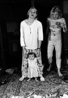 Curt Cobain with child & wife