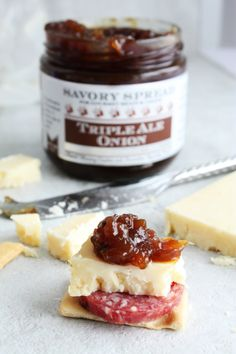 Not a recipe but looks good! Triple Ale Onion Savory Spread. 2014 Sofi Gold Winner for Outstanding Condiment. A sweet sticky onion spread hand crafted with 3 artisan ales. The BEST cheese pairing.
