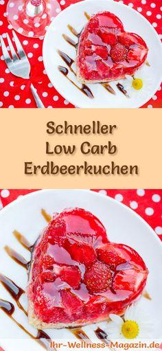 Rezept für einen Low Carb Erdbeerkuchen - kohlenhydratarm, kalorienreduziert, ohne Zucker und Getreidemehl