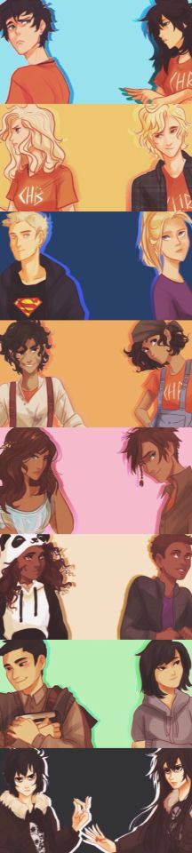 Heroes of Olympus genderbends. Persephone, Anthony, Jayden, Lea, Peter, Harry, Frances (Frankie), Nicole