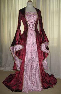Chloe, a Renaissance,Elvish, Pagan  Wedding or Hand Fasting Dress in Burgundy and Pink.. $241.00, via Etsy.