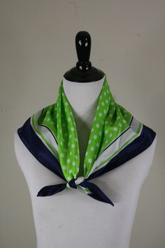 1970s Preppy Polka Dots Lime Green and Navy Square Scarf by Glentex made in Japan by YaYaRetro on Etsy