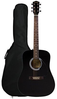 Fender Limited Edition Dreadnought Acoustic Guitar with Gig Bag - Black The new Fender Acoustic with Gig Bag offers great Fender sound and