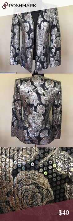 "Constance Saunders Sequin Silver Flower Blazer Constance Saunders For Richard Warren II . Size 4. NWOT. This incredible crafted jacket is a beautiful find. Pure Quality! Measurements are appropriate 26"" L x 17"" B x 24"" Sleeves Done with Item laying Flat. Please use this as a guide only! Please ask all questions prior to buying. I bundle Constance Saunders Jackets & Coats Blazers"