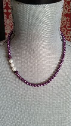 Knotted Purple Glass Pearl Necklace, Purple Pearl Necklace, White Detail, Shamballa Beads,Bridesmaids Necklaces, Everyday,  Simple, Necklace by PickinsGalore on Etsy