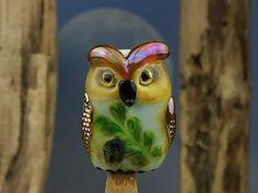 Eunice... lampwork owl bead... sra by DeniseAnnette on Etsy, $18.00