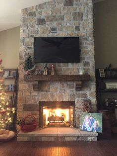 Fireplace Mantel with Corbels Custom 62 Rustic Hand Hewn Solid Pine Pioneer Line Rock Fireplaces, Rustic Fireplaces, Farmhouse Fireplace, Fireplace Hearth, Home Fireplace, Fireplace Remodel, Living Room With Fireplace, Custom Fireplace, Corner Stone Fireplace