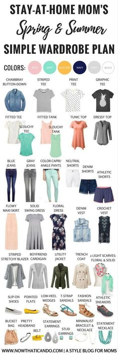 Basic Spring/Summer Capsule Wardrobe Outfits) for Stay-at-Home Moms Stay-at-home mom needing ideas for a flexibly stylish but comfortable spring & summer wardrobe? Check out this simple ensemble that creates over 86 outfits to keep you looking un-frum Summer Work Outfits, Mom Outfits, Spring Outfits, Casual Outfits, Dress Casual, Outfit Summer, Everyday Outfits, Everyday Fashion, Dress Outfits