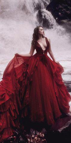 gothic wedding dresses a line deep v neckline red malyarova olga