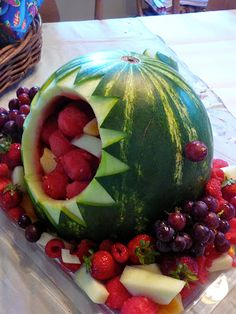The Hidden Pantry - Little boys birthday party centerpiece!  S-H-A-R-K filled with fruit.  Our 5 year old twins loved this one!