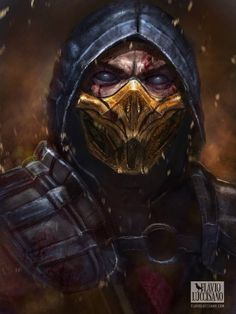 Scorpion by Flavio Luccisano Mortal Kombat X Scorpion, Escorpion Mortal Kombat, Arte Ninja, Ninja Art, Mortal Kombat X Wallpapers, Final Fantasy Cosplay, Arte Cyberpunk, Marvel Wallpaper, Video Game Art