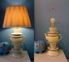 Love this lamp made out of thrift store items! // Would be super cute in an Alice in Wonderland themed room