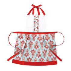 """Multicolor cotton apron with a tribal floral print and button accents. Product: ApronConstruction Material: 100% CottonColor: Red, white and blueFeatures: Original design by Iza PearlOne size fits mostDimensions: 28.5"""" H x 25"""" W Cleaning and Care: Machine wash cold. Tumble dry low."""