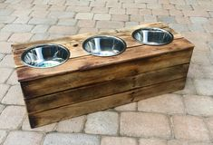Triple Medium Elevated Dog Dish // Medium 3 Bowl Feeding Stand // Dog Dish // Elevated Dog Bowl