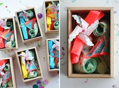 PARTY SUPPLY INVITATION DIY:  Materials: Some pretty boxes, party supplies, confetti & an invitation  Step 1: Fill the box halfway with confetti (it's an easy way to fill the box without needing too many supplies.) Step 2: Add the rest of your supplies. If you have the time you could make some of your own party supplies: pinwheels, flags, party blowers and create a theme. Step 3: Close the box with  twine + attach the invitation