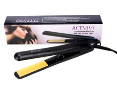22 ACEVIVI Adjustable Temperature Black Ceramic Tourmaline Ionic Flat Iron Hair Straightener,Dual Voltage 110V-240V