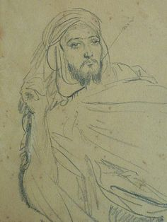 CHASSERIAU Théodore,1846 - Arabe allongé - drawing - Détail 14
