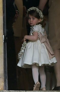 Princess Charlotte of Cambridge at St Mark's church for her Aunt Pippa's wedding. May 20 2017.
