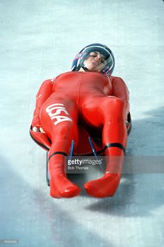 Sport, Winter Olympics, Calgary, Canada, 18th February 1988, Women's Luge, USA's Erica Terwillegar (Photo by Bob Thomas/Getty Images) Youth Olympic Games, Winter Olympic Games, Olympic Sports, Tight Suit, Skin Tight, Bobsleigh, Beautiful Athletes, Luge