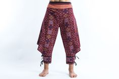 Clovers Thai Hill Tribe Fabric Men Harem Pants with Ankle Straps in Bu