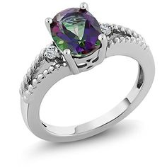 Sterling Silver Oval & Round Mystic Topaz Women's 3-Stone Ring (1.65 cttw  Available in size 5  6  7  8  9).More info for silver ring price;gold ring new design;gold diamond rings for women;buy gold ring;ring online shopping could be found at the image url.(This is an Amazon affiliate link and I receive a commission for the sales)