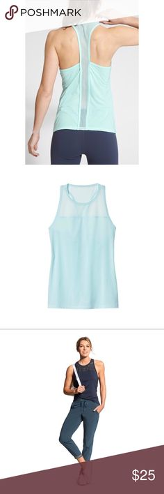 Athleta Airy Essence Tank Athleta airy essence tank in a pretty baby blue/mint color. In excellent preowned condition. No modeling or try on's. Athleta Tops Tank Tops