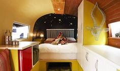 Rooftop Airstream Trailer Boutique Hotel The Grand Daddy Hotel Travel Trailer Interior, Rv Travel Trailers, Travel Trailer Remodel, Airstream Trailers, Vintage Travel Trailers, Living Room Remodel, Rv Living, Interior Color Schemes, Colorful Interiors