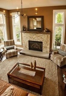 living room red brick fireplace decor   Formal Living Room ...