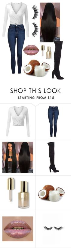"""Power Outfit"" by hannaheason ❤ liked on Polyvore featuring Topshop, Steve Madden, Stila and Violet Voss"