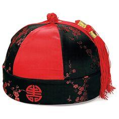 Men's Red Mandarin Hat with Tassels